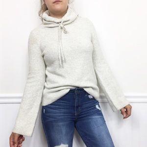 Loft | Soft Gray Cowl Neck Sweater Flare Sleeve